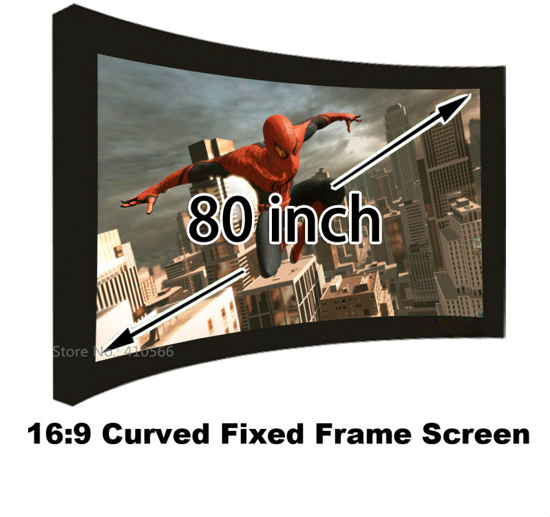 Brand New 80 Inch Wall Mounting Projection Screen 16:9 Format Curved Fixed Frame 3D Projector Screens For Sale 150 inch 16 9 fixed frame home theater projection projector screen 3 15 wide black velvet coated frames wall mount screens