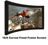 Brand New 80 Inch Wall Mounting Projection Screen 16:9 Format Curved Fixed Frame 3D Projector Screens For Sale