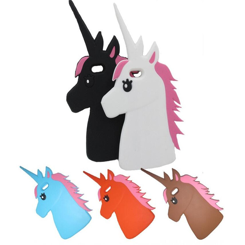 Fashion 3D Unicorn Design Cute Cartoon White Horse Protective Silicone back Cover iPhone 5 5s / SE 5se Phone Cases  -  luck nymph Store store
