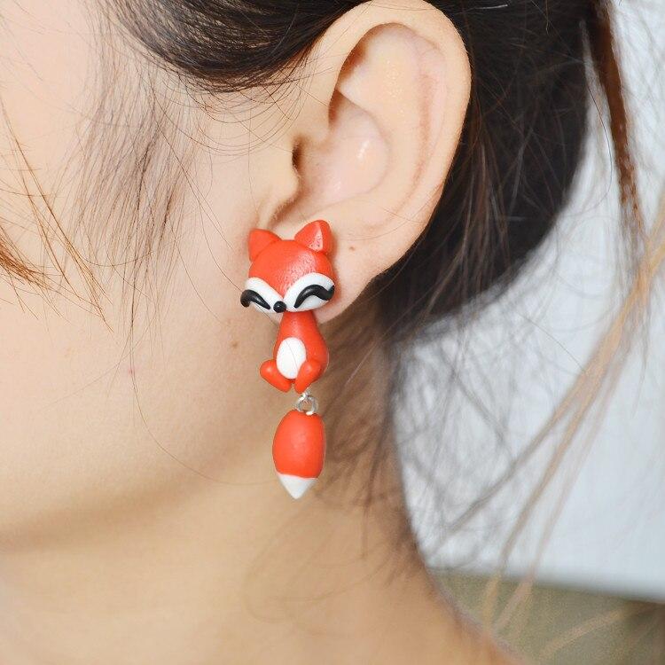 New 3D red fox Earring brand 100% Handmade Polymer Clay fashion animal stud earring brincos earrings for women