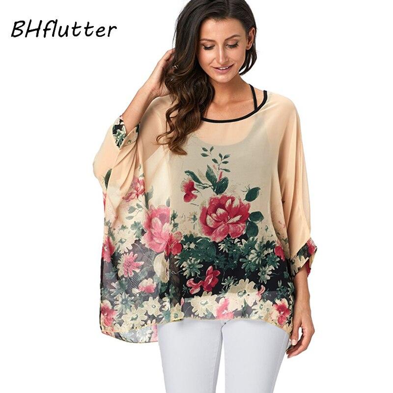 BHflutter 4XL 5XL 6XL Plus Size Women Clothing 2018   Blouse     Shirt   Floral Print Chiffon   Blouses   Batwing Sleeve Kimono Summer Tops