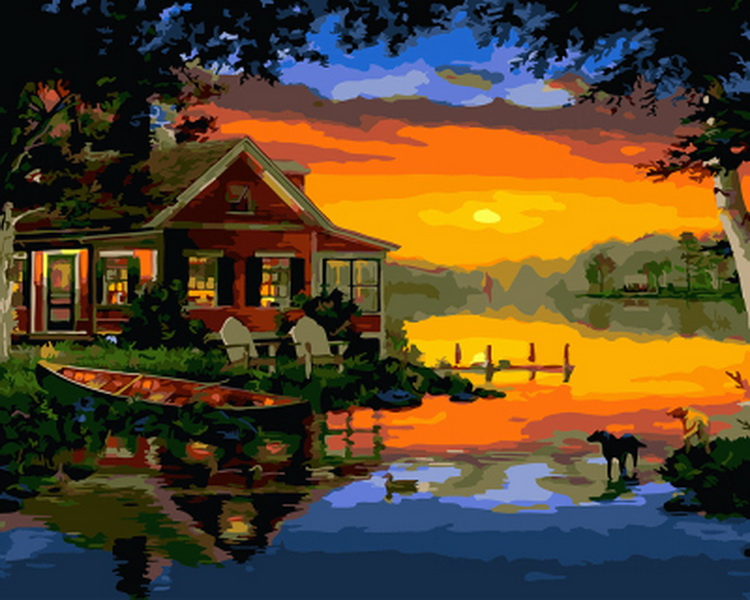 Frameless oil painting by numbers paint by number for home decor oil picture painting 5065 pier