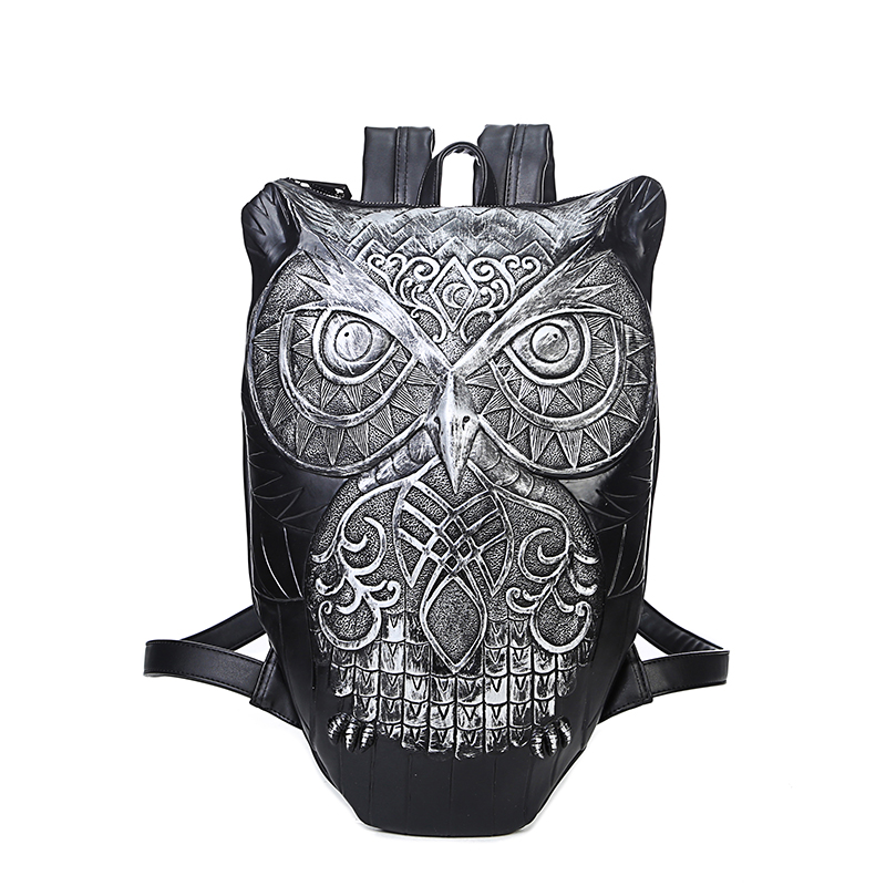 Women Backpack 2017 Newest Stylish Cool Black PU Leather Owl Backpack Female Hot Sale Women Bag In Stock Fast Shipping