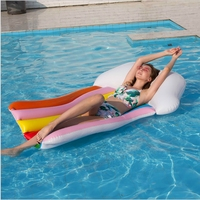 Adult Inflatable PVC Water Bed Rainbow Pool Float Air Mattress for Swimming Pool Lounger Inflatable Pool Raft Kids Water Sport