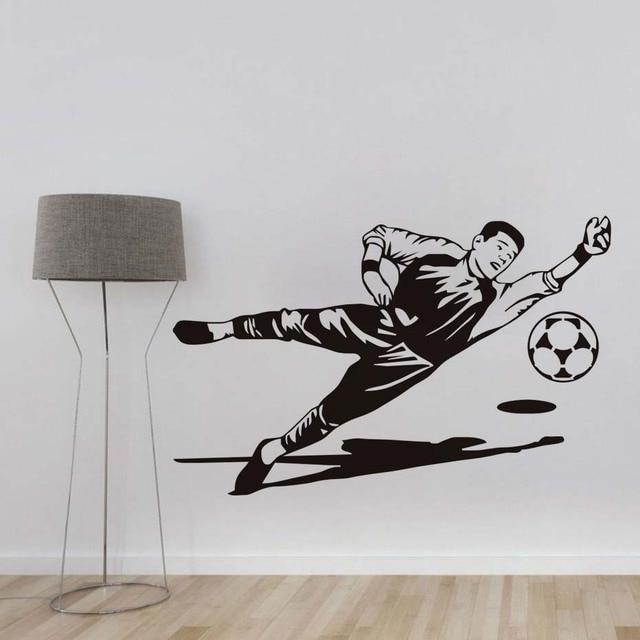 Football Kiper Sketsa Dinding Stiker Vinyl Removable Gambar Siluet