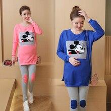 Fashion Maternity Suits Pregnant Cartoon Shirt + Leggings/Pants Long Sleeved T-shirt Set for Women Clothing Spring/Autumn/Winter