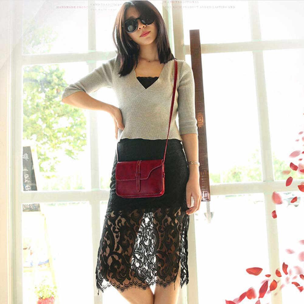 Bolso Vintage Simple Multicolor bolsos de cuero para mujer hombro cruzado bolsos de mensajero para mujer