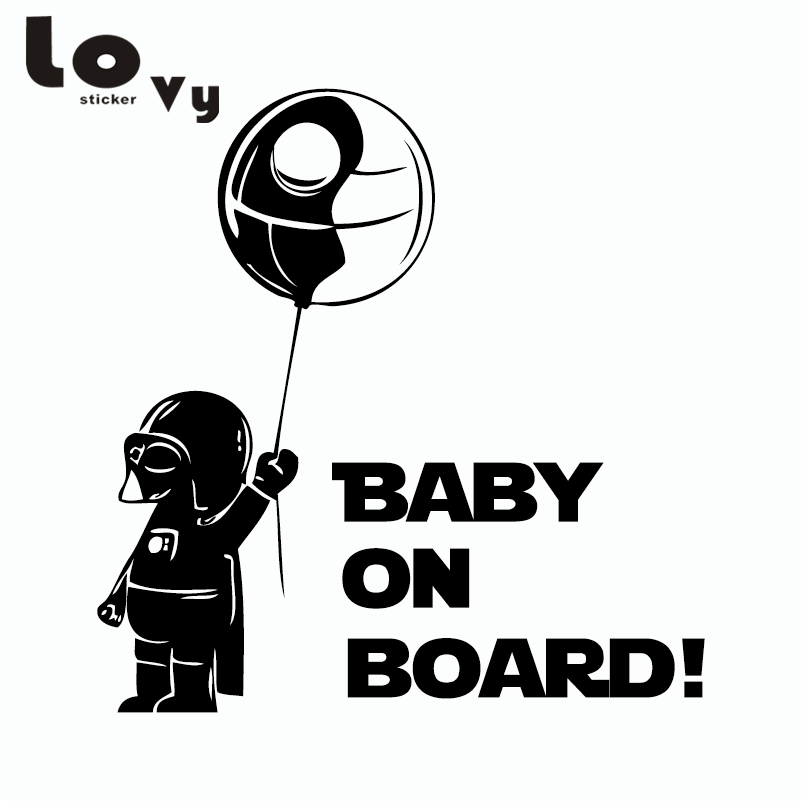 Classic Funny Car Board: Classic Film Star Wars Car Sticker Creative Baby On Board