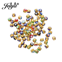 JUYA 50pcs/lot Alloy Round 5mm Evil Eye Spacers Beads for Jewelry Making Bracelet Pendant Findings Charms Diy Crafts Accessories