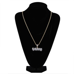 Image 3 - TOPGRILLZ Hip Hop Necklace Brass Gold Color Iced Out Chains Micro Pave Cubic Zircon SAVAGE Pendant Necklace Charm For Men Gifts