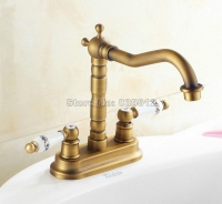 Antique Brass Swivel Spout Bathroom Basin Faucet Two Hole Deck Mounted Dual Ceramic Handles Vessel Sink