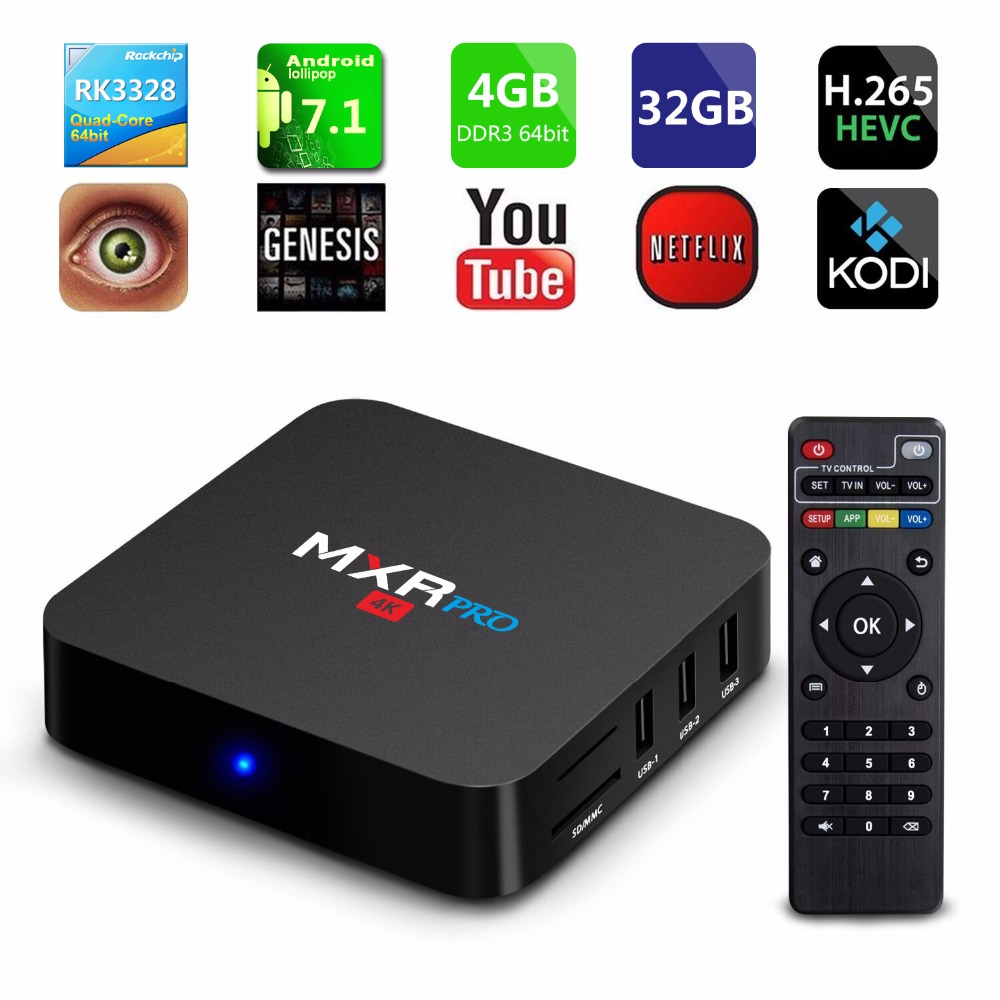 4GB RAM 32GB ROM MAX MXR PRO Android 7.1 Smart TV Box RK3328 Quad Core 2.4GHz WiFi VP9 H.265 UHD MXRpro 4K Player Set top box худи print bar keyboard fun