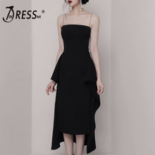 INDRESSME 2019 New Black Evening Dress Spaghetti Straps Pearl Detail Backless Bodycon Asymmetrical Hem Women Midi Dress цена 2017