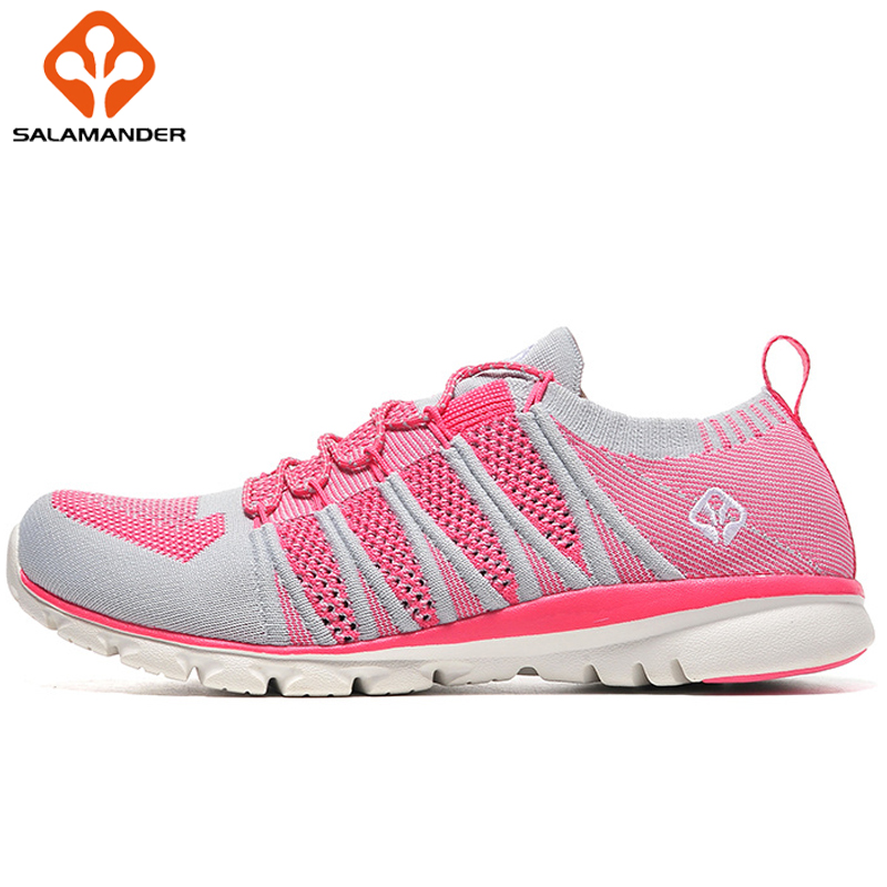 SALAMANDER Fabric Breathable Running Shoes Women Sport Shoes Men Summer Outdoor Sneakers Brand New Lace Up Run Shoes For Women do dower men running shoes lace up sports shoes lovers yeezys air outdoor breathable 350 boost sport sneakers women hot sale