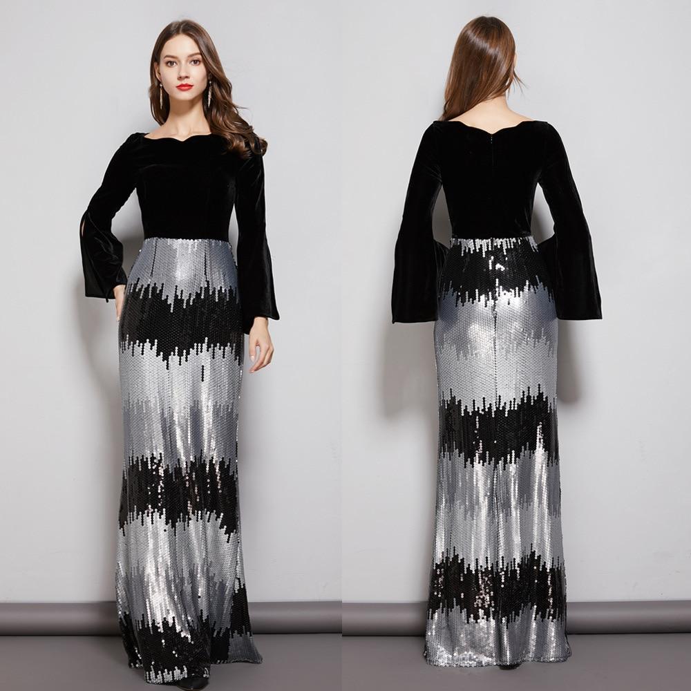 Paillettes Robe De soirée Sexy 2019 velours noir manches longues Robe De soirée formelle col rond une ligne robes De bal robes De soirée - 6
