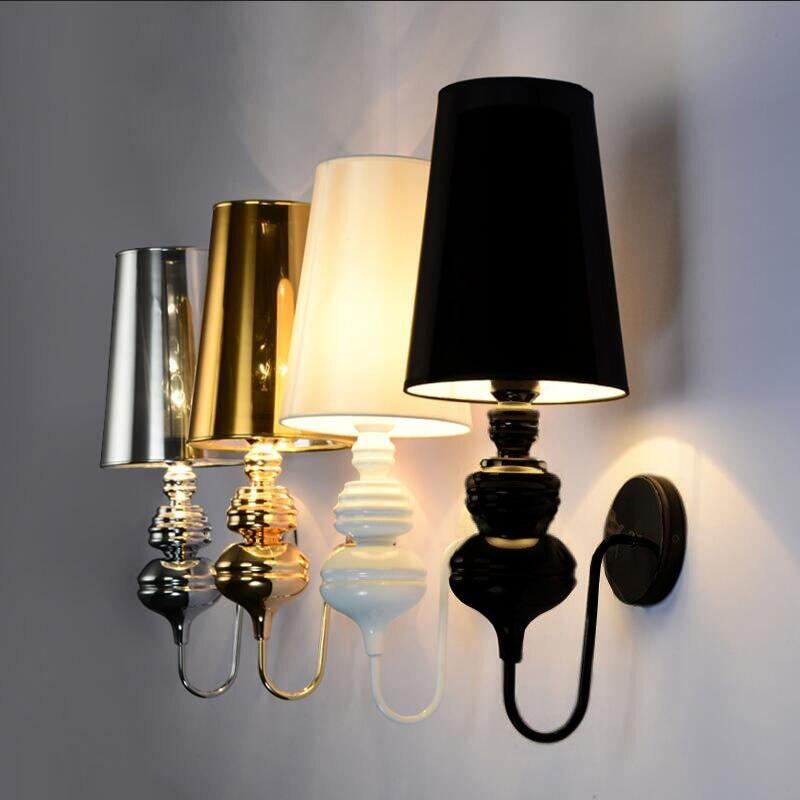 Lâmpadas de parede modernas glod/prata/preto/branco pano sombra arandela sala estar quarto foyer ao lado da lâmpada luzes parede do hotel