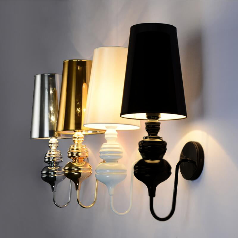 US $26.64 27% OFF|Modern Wall Lamps Glod/Silver/Black/White Cloth shade  Wall Sconce Living Room Foyer Bedroom Beside Lamp Hotel Wall Lights-in LED  ...