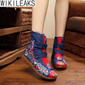 2016 New Fashion Women Winter Warm Chinese Style Double Hook And Loop Shoes Woman Mid-Calf Wedges Embroidered Boots