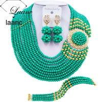 Laanc Fashion Cyan Green Nigerian Jewelry Set African Beads Necklace Brides Bridesmaids Bridal Wedding Jewelry Sets DBPH019