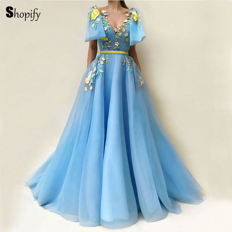 Long Elegant   Evening     Dress   2018 Arabic Style Embroidery Light Blue Abiye Women Formal   Evening   Gowns Party robe de soiree