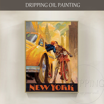 Artist Hand-painted High Quality Special Landscape Kissing in New York Oil Painting Beautiful Wall Art Kiss New York Painting