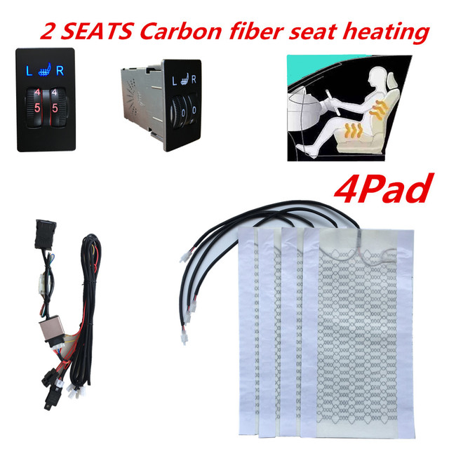 12V 2 Seats 4 Pads Universal Carbon Fiber Heated Seat heating Heater Pads 2 Dial 5 Level Switch Winter Warmer Seat Covers