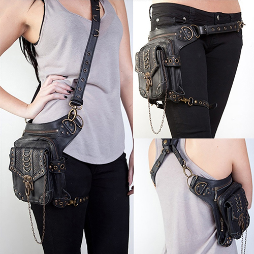 ФОТО Men Women Steampunk Retro Rock Gothic Shoulder Waist Bag Leg Thigh Pack