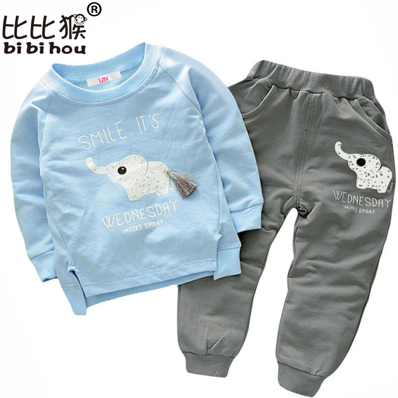 Children Clothing spring Cartoon elephant Boys Clothes Set T-shirt+Pants 2pcs Outfits Kids Sport Suit Toddler Boys Clothing Sets new plane boys clothing set cartoon dusty plane casual kids clothing sets for boys summer t shirt pants children clothing set