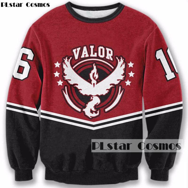 PLstar Cosmos Drop shipping Men Women Hipster Sweatshirts Games Pokemon Go 3D print Sweatshirt Baseball Style Crewneck Pullovers