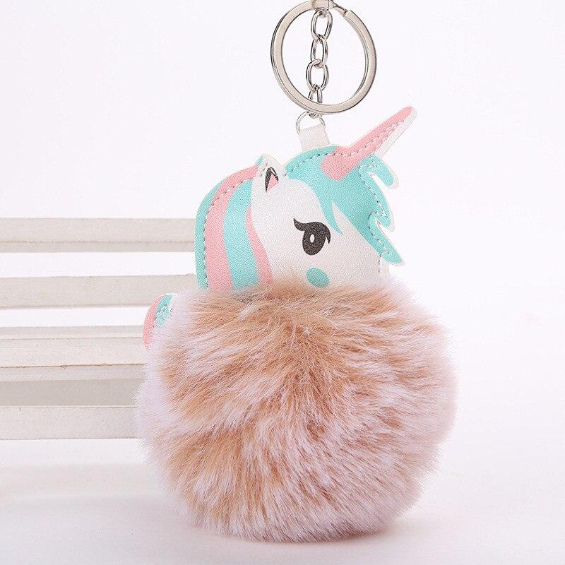 Einhorn Licorne Horse Faux Kaninchenfell Ball Pompom Keychain Schlüsselanhänger