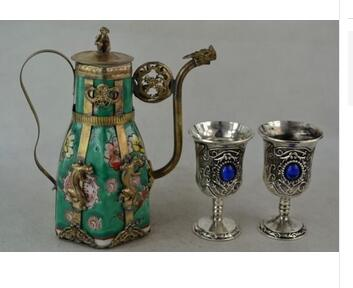 Travail manuel UNIQUE argent cuivre éléphant décoré main porcelaine Miao argent tailler léopard fleur Rare théière tasse