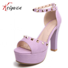 Hot Sale gladiator Style Women Shoes Sexy rivets casual sweet Lolita Ladies Dress Shoes thick high heels buckle platformssandals