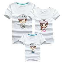Cartoon Fashion 2016 T-shirt Men Harajuku Sport White T Shirt Skate Tshirt Poleras Hombre Cotton Family Matching Mother Daughter