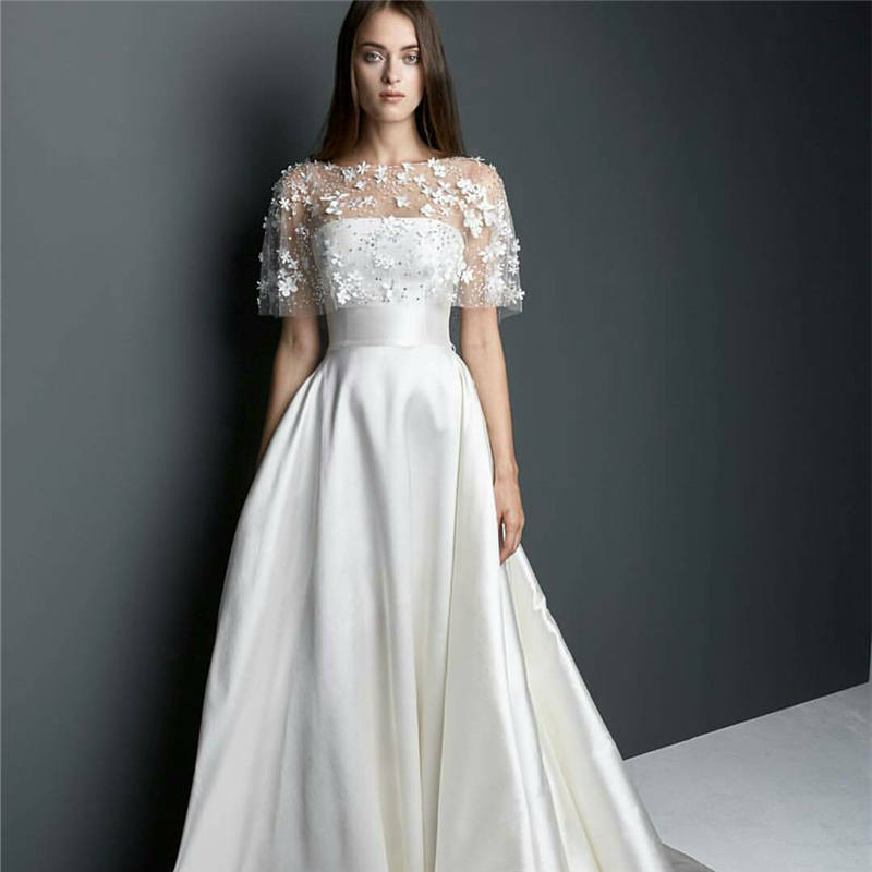 New A Line Satin Count Train Wedding Dress With Coat Hand Flowers Bridal Gowns Floor Length Lace Ons Robe De Soiree Longue In Dresses From