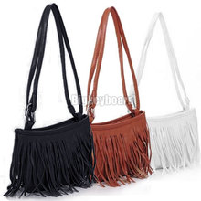 Womens Vintage Faux Suede Fringe Tassel Satchel Shoulder Handbag Crossbody Bag Y1