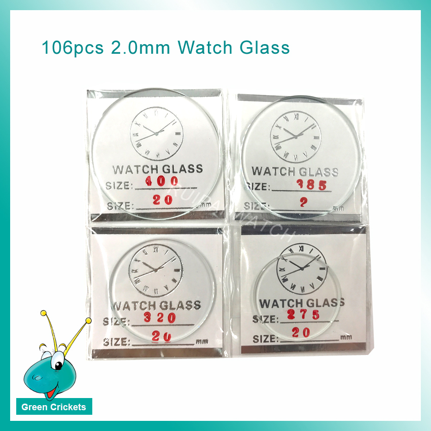 Relógio de Vidro de Relógio para Relojoeiro 2.0mm de 24mm a 50mm Tamanho de 2 Atacado Assista Cristais Redonda Plana Cada Pcs Cristal Mineral 106 Pçs – Set