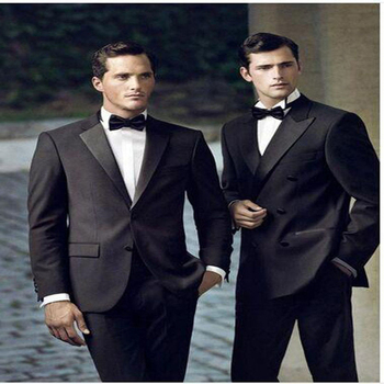 2017 New Tailored black Peak Lapel Tuxedos Wedding Suits For Men Best Mens Two Buttons Groom Suit Custom Made 3 Pieces