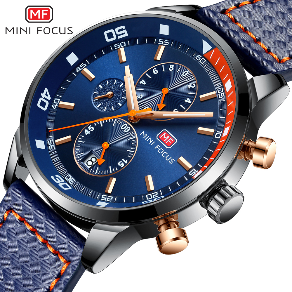 MINI FOCUS Sports Watches Men Casual Quartz Watch Men Top Brand Luxury Leather Strap Military Wrist Watch Male Blue Analog Clock super speed v0169 fashionable silicone band men s quartz analog wrist watch blue 1 x lr626