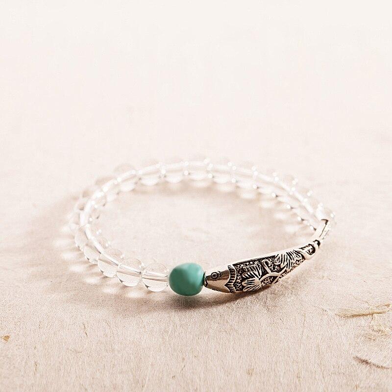 Gros Artisan Conception Pur Cristal Perlé Bracelet Avec Antique S925 Argent Charmes de Poissons Amazon Pierre De Yoga Méditation Bijoux