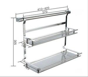 Image 2 - Stainless steel kitchen storage rack shelf bathroom shelf double layer rack shelf spice jar rack double layer shelf