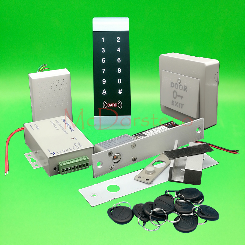 DIY Complete 125khz Rfid Glass Door Lock control system  Electric Bolt Lock +Power supply+exit button+keyfobs fcl 300a wooden glass anti fire bi directional door 500 000 times reliable power on lock electric bolt lock