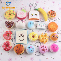 Leadingstar 20pcs Small Soft Squishy Foods Cute Doughnuts Cakes Breads Handbag Pendant Buns Phone Straps Decoration