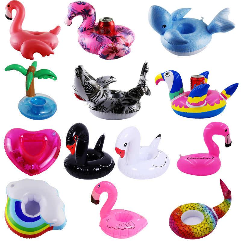 Rooxin Inflatable Drink Holder Boat Unicorn Flamingo Inflatable Cup Holder for Pool Swimming Float Beer Holder Summer Bar Tray