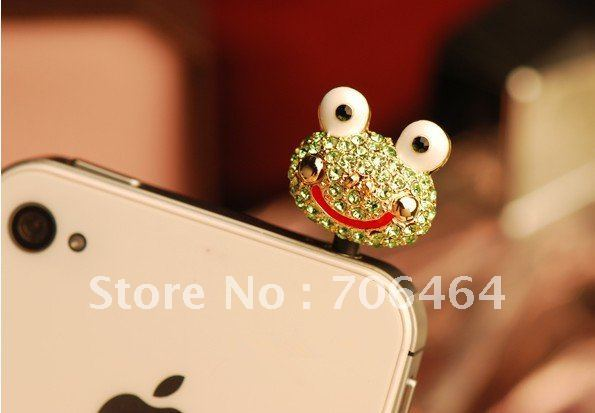 Green frog Free shipping 12 pcs/lot mixed 3.5mm diamond all-purpose cell phone dust earphone plug gorgeous gold zinc ear cap
