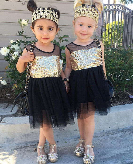 2016 New Dresses Baby Kids Girls Toddler Princess Clothing Pageant Party Black Sequined Lace Mini Gold Formal Brief Dresses toddler kids baby girls princess dress party pageant wedding dresses with waistband