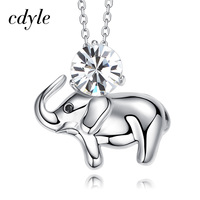 Cdyle Crystals From Swarovski Elephant Shape Women Necklace Pendant S925 Sterling Silver Fashion Jewelry Austrian Rhinestone