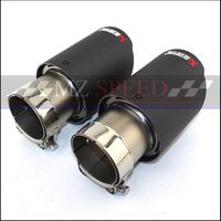 1Pcs car styling Carbon fiber + stainless steel universal Auto akrapovic exhaust tip tailtip end pipe for bmw V W golf