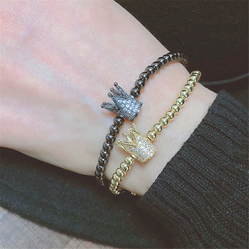 New trendy black white stone beaded bracelet Fashion gold silver color alloy crown bracelet for women men couple bangles jewelry 4
