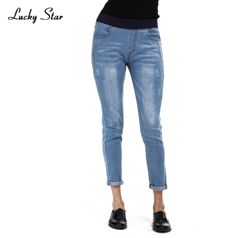 ФОТО Popular Slim Blue high waist jeans Women's jeans pants  For women Scratches Snow pattern No buttons Elastic waistband Pants D119