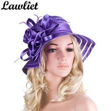 2017 Elegant Summer Hats for Women Wide Brim Cap Ladies beach Floppy Hats Female Church Hats Women Party Hats  12 colors A214